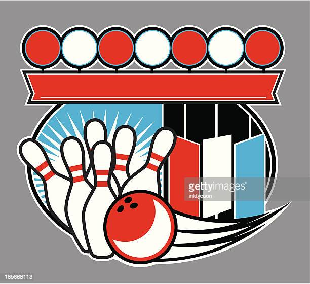 bowling sign design - bowling stock illustrations, clip art, cartoons, & icons