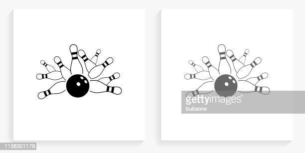 bowling strike black and white square icon - bowling pin stock illustrations