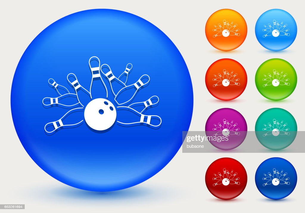 Bowling Strike Icon on Shiny Color Circle Buttons : Vector Art