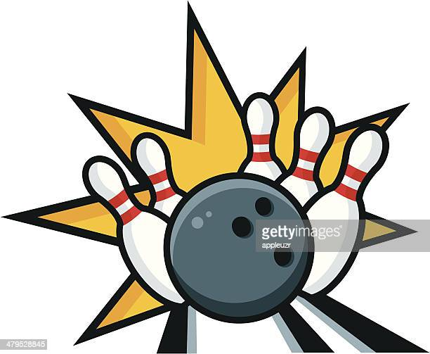 bowling strike - bowling ball stock illustrations, clip art, cartoons, & icons