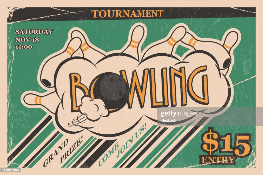 Bowling tournament invitation vintage poster. Bowling strike in retro bowling tournament poster design concept. Vector illustration.