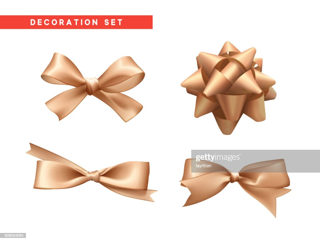 Bows beige realistic design. Isolated gift bows with ribbons