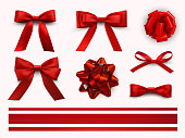 Bows with ribbons set, decorative and festive design