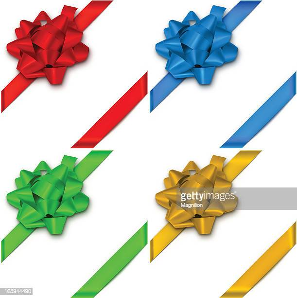 bows with ribbons - royal blue stock illustrations