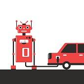 Bowser robot. Refuel car at gas station concept flat illustration