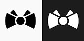 Bowtie Icon on Black and White Vector Backgrounds