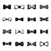 Bowtie ribbon man tuxedo icons set, simple style