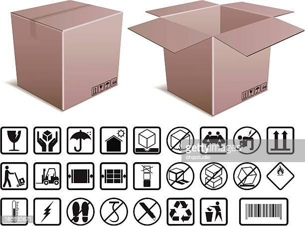 ilustrações, clipart, desenhos animados e ícones de box e manuseio instruções - embalagem cartonada