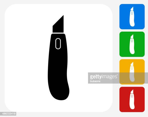 box cutter knife icon flat graphic design - utility knife stock illustrations