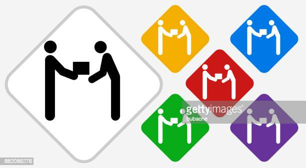 box delivery color diamond vector icon - post office stock illustrations, clip art, cartoons, & icons