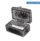 box, doodle. vector illustration. black