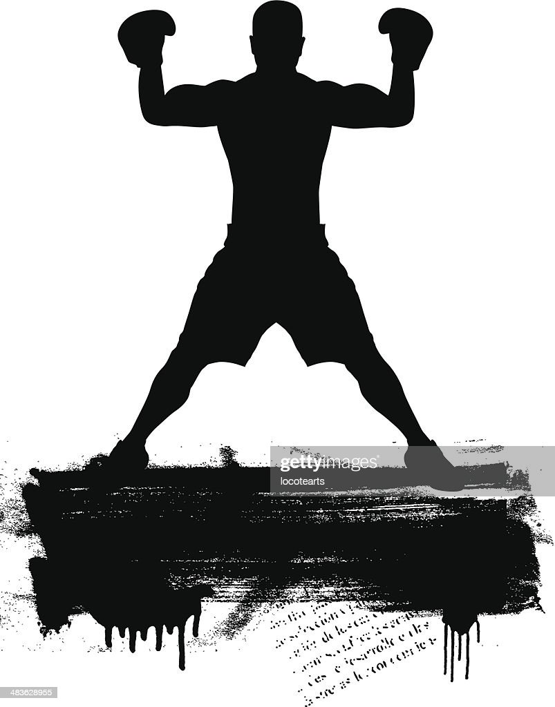 box fighter with grunge banner