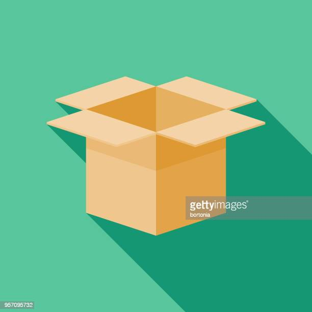 Box Flat Design Shipping Icon with Side Shadow