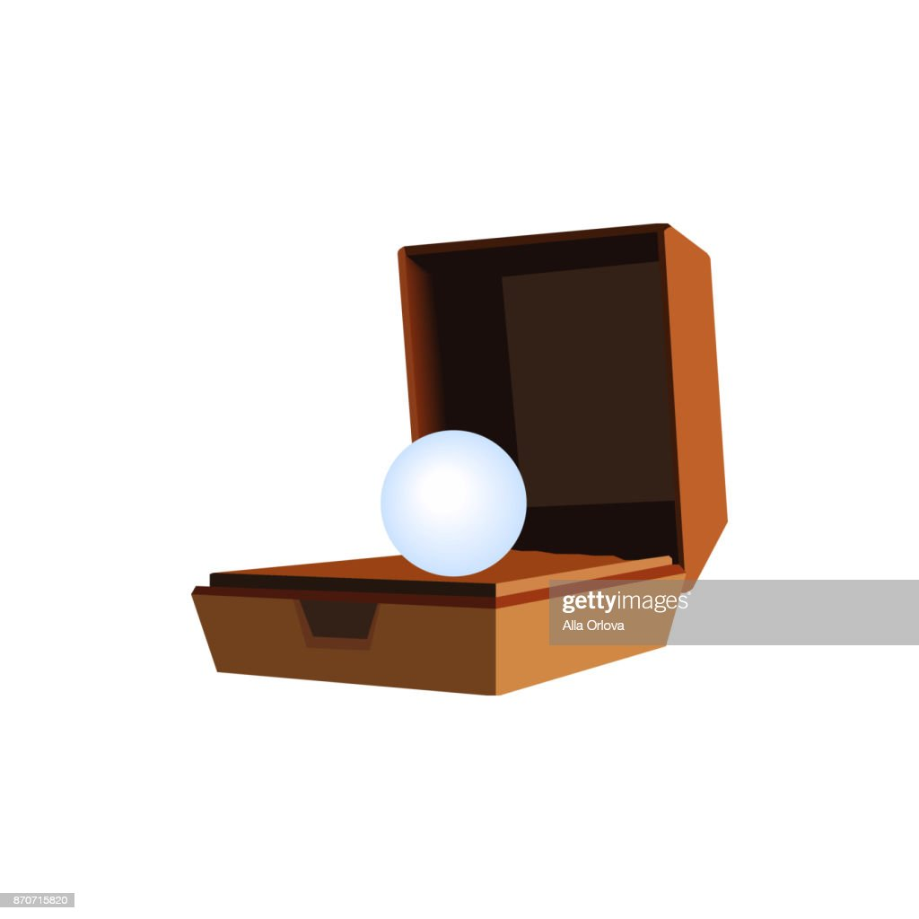 Box for jewelry brown with a large pearl
