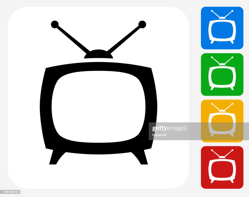 TV Box Icon Flat Graphic Design