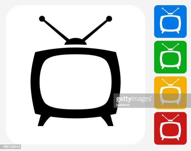 tv box icon flat graphic design - television industry stock illustrations