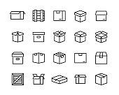 Box icons set. Editable vector stroke. 96x96 Pixel Perfect