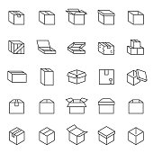 Box, linear icon set. Cardboard packaging boxes. Editable stroke