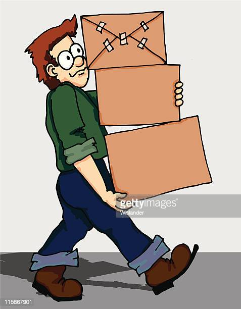 box moving man - go carting stock illustrations, clip art, cartoons, & icons