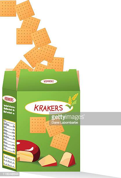 box of cheese crackers - cracker snack stock illustrations, clip art, cartoons, & icons