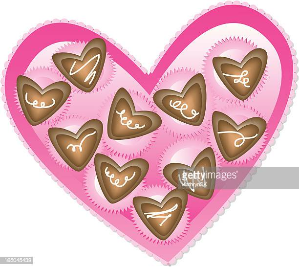box of chocolate hearts isolated on white background - dessert topping stock illustrations, clip art, cartoons, & icons