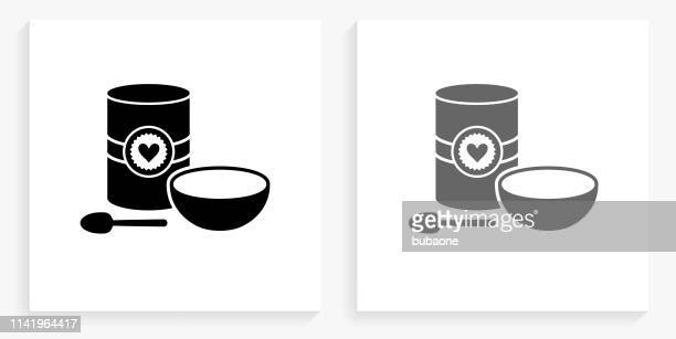 Box of Oats with a Bowl and Spoon Black and White Square Icon