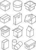 Box outline symbols. Paper wooden or carton export packages vector isometric line icons isolated
