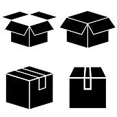 Box set icon, logo isolated on white background. Cardboard box in the open and closed form