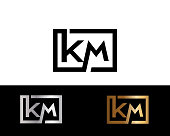 KM Box Shape icon. Letter Design Vector with Black Gold Silver Colors