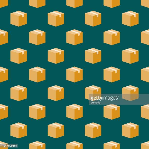 box shipping seamless pattern - package stock illustrations
