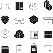 Box symbols. Wooden and cardboard stack export boxes opened and closed vector simple icon set