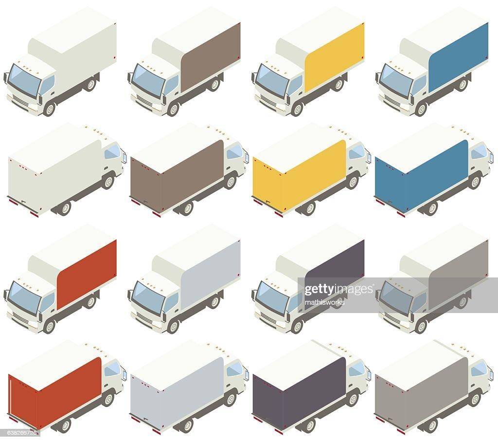 Box Trucks Isometric Illustration : Vector Art