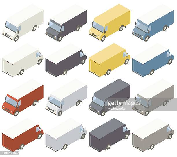 box trucks isometric illustration - mathisworks vehicles stock illustrations