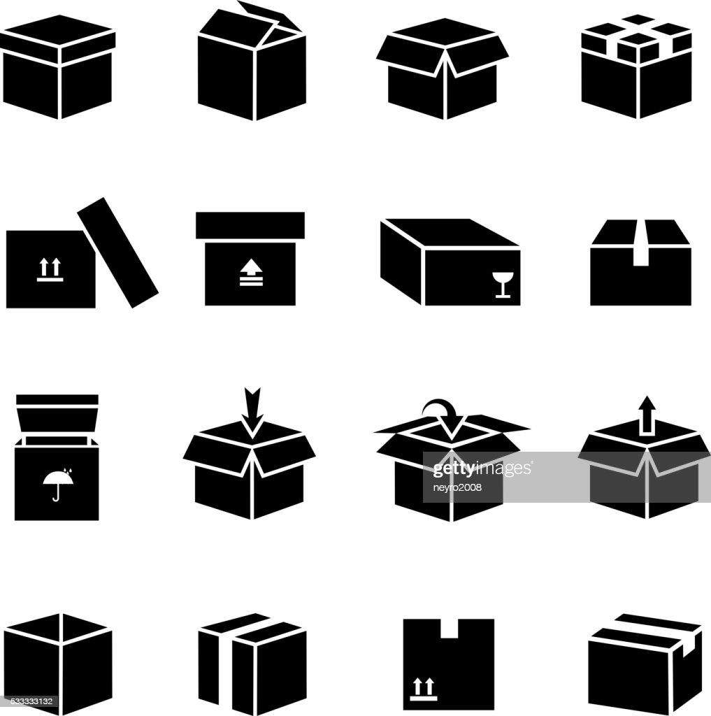 Box vector icons set