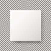 Box view. Realistic White blank Package Cardboard Box. isolated on transparent background. Vector illustration.