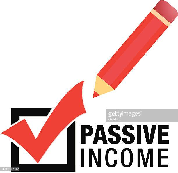 Box with check mark, pencil and the words passive income