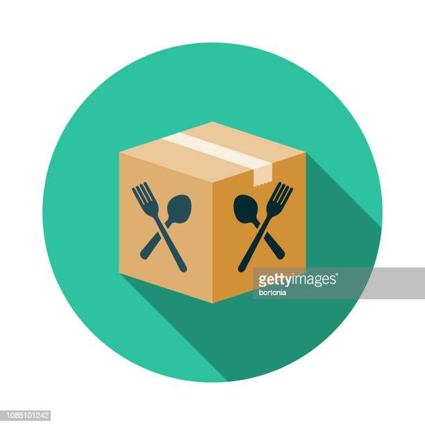 boxed meal kit icon - delivering stock illustrations