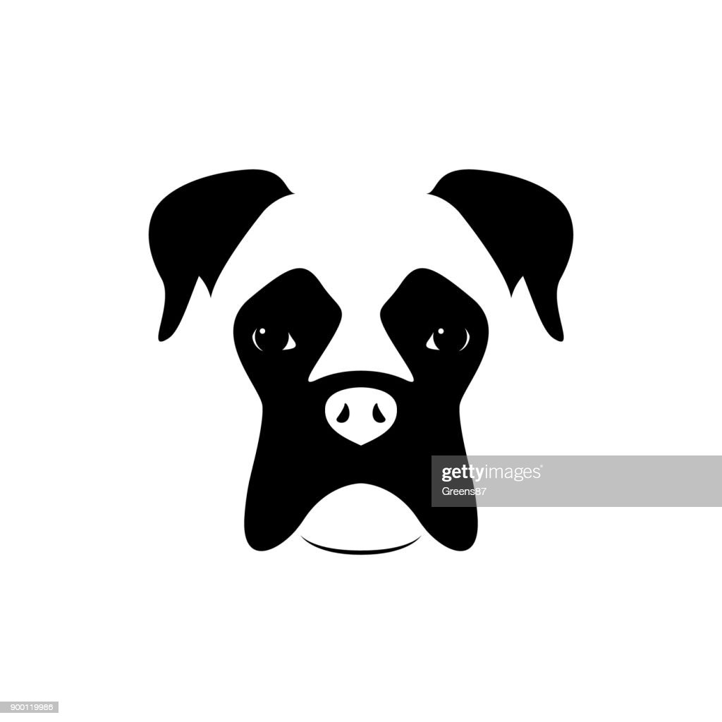 Boxer dog muzzle. Black and white. Vector illustration.