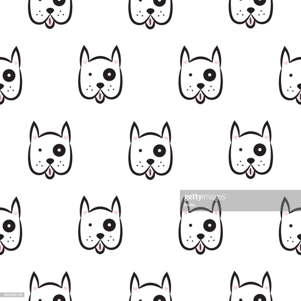Boxer dog seamless vector monochrome pattern