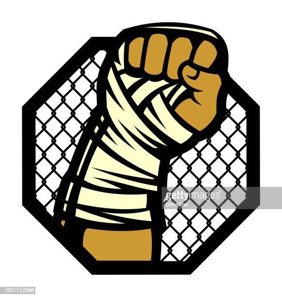 boxer-faust mit bandagen - free fight stock-grafiken, -clipart, -cartoons und -symbole