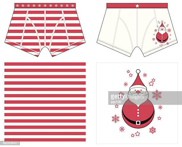 boxer shorts with christmas style stripe and snowman placement - underwear stock illustrations, clip art, cartoons, & icons