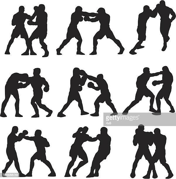 boxers in action - combat sport stock illustrations, clip art, cartoons, & icons