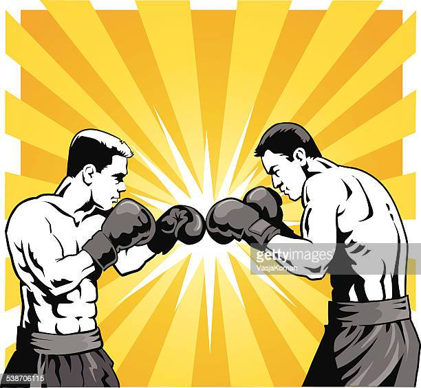 Boxers in Black and White on Orange Background