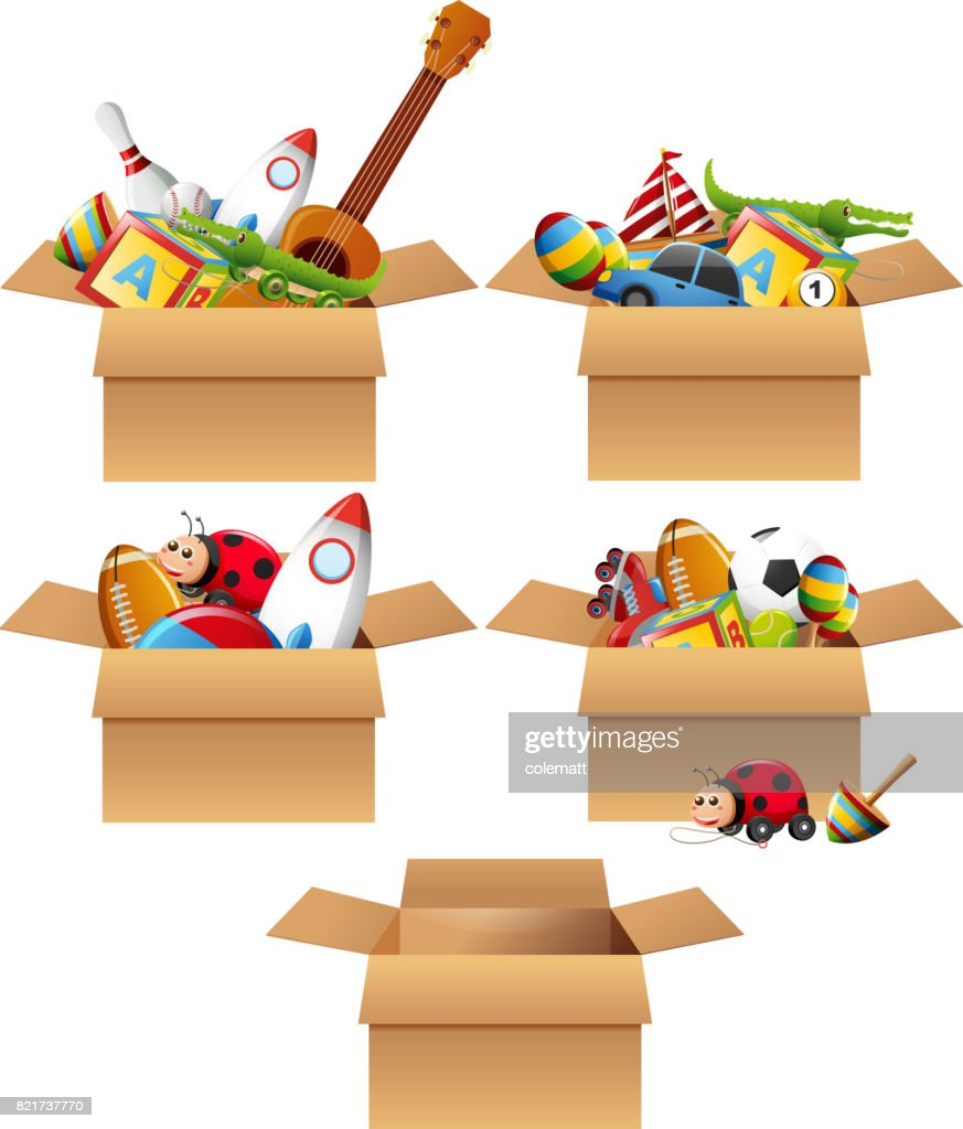 Boxes full of toys