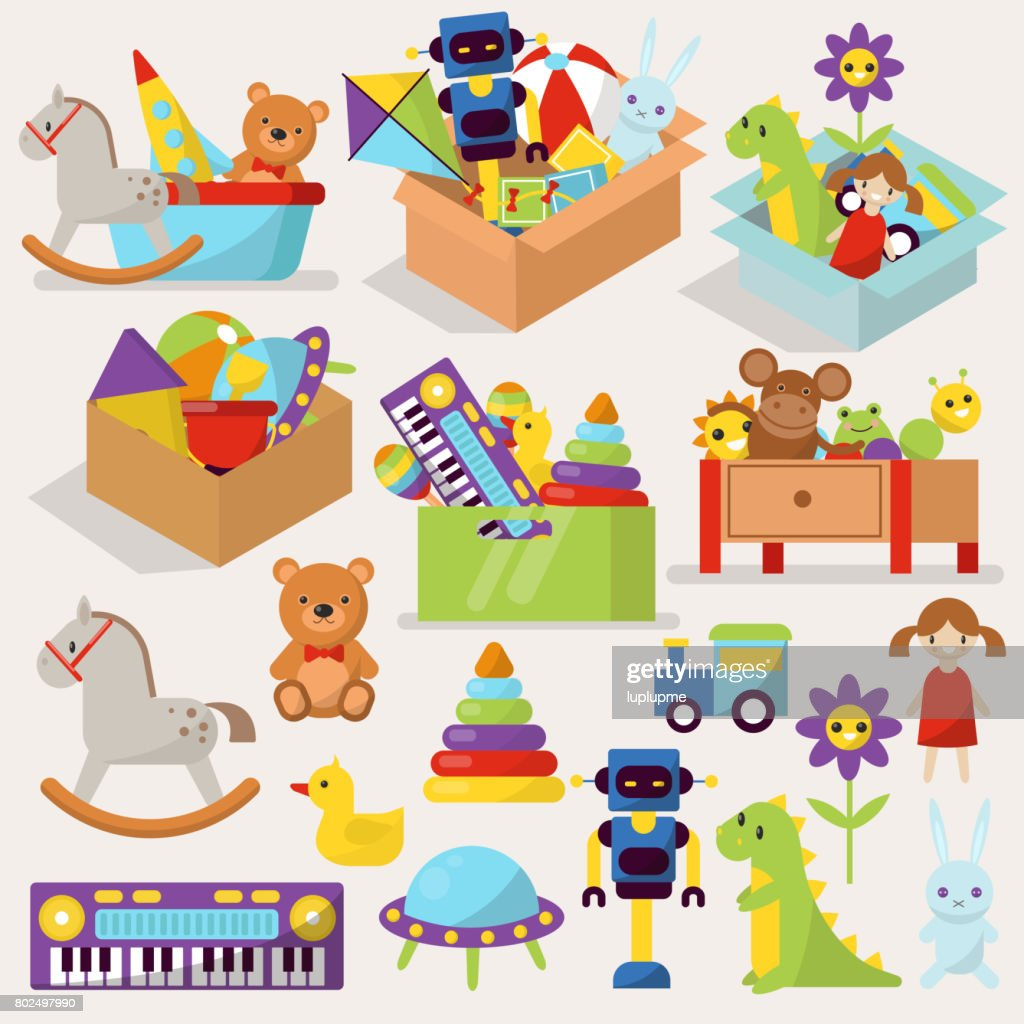 Boxes of kid toys vector illustration stuffed blocks cartoon cute graphic play childhood gift container