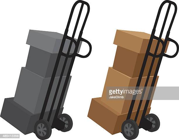 boxes on dolly silhouette - hand truck stock illustrations, clip art, cartoons, & icons