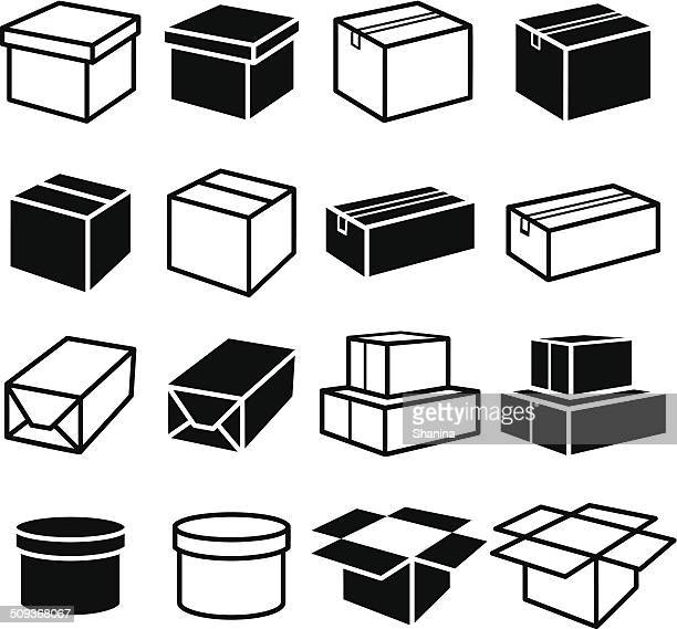 boxes set - packaging stock illustrations, clip art, cartoons, & icons