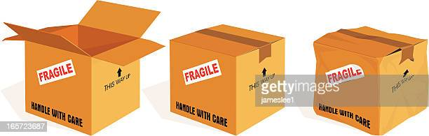boxes - damaged stock illustrations