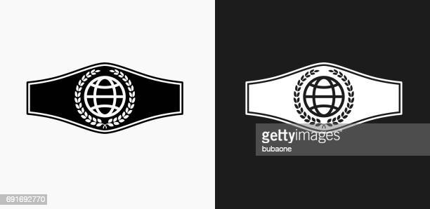 Boxing Belt Icon on Black and White Vector Backgrounds
