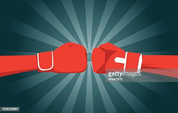 illustrations, cliparts, dessins animés et icônes de boxe, défi et surmonter les difficultés, de sport, d'expression positive - gant de boxe